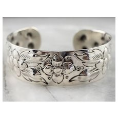 Reynolds Hand Chased Floral Cuff Bracelet