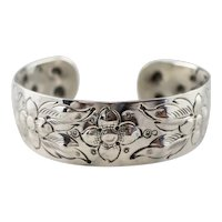 Reynolds Hand Chased Floral Cuff Bracelet