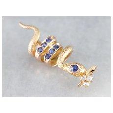 Sapphire and Diamond Snake Pendant