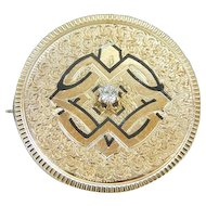 Gorgeous Brooch or Pendant with Diamond Center
