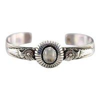 Upcycled Moonstone Southwestern Cuff Bracelet