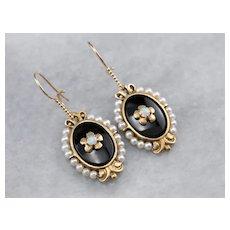 Retrofitted Opal Black Onyx Drop Earrings
