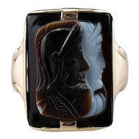Vintage Roman Soldier Onyx Cameo Ring