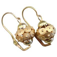 Scrolling Beaded Ball Drop Earrings