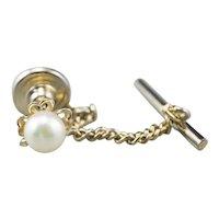 Vintage Cultured Pearl Shamrock Tie Tac