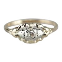 Old Mine Cut Diamond Two Tone Engagement Ring