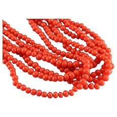 Vintage Glass Coral Beaded Necklace