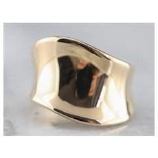 Modernist Yellow 14 Karat Gold Band