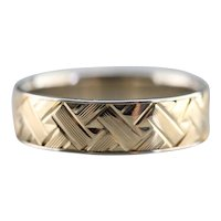 Art Carved Basket Weaved Two Toned Band