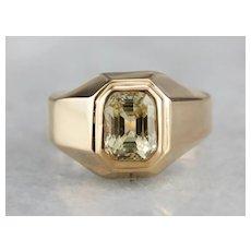 Men's Vintage Yellow Sapphire Ring