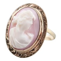 Upcycled Pink Cameo Cocktail Ring