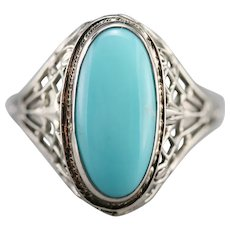 Upcycled Turquoise 1920s Filigree Ring