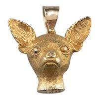 Large 14 Karat Gold Chihuahua Pendant
