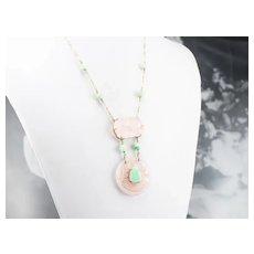Jadeite Cabochon Buddha and Carved Rose Quartz Necklace
