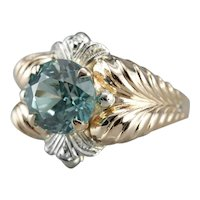 Upcycled Unisex Blue Zircon Statement Ring
