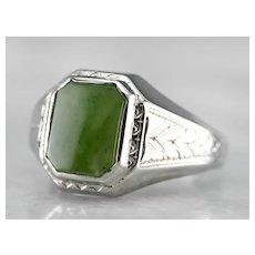 Antique Engraved Jade Cabochon Men's Ring