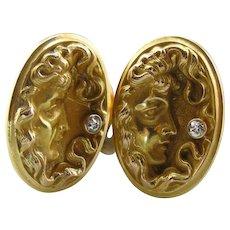 Diamond Goddess: Stunning Antique Cufflinks from the Art Nouveau Period