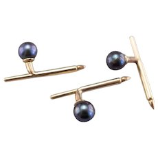Vintage Cultured Black Pearl 14 Karat Gold Shirt Studs