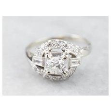 Old Mine Cut Diamond Bypass Style Ring