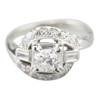 Old Mine Cut Diamond Bypass Style Ring