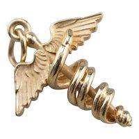 Vintage Three Dimensional Caduceus Pendant