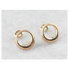 14K Gold Simple Hoop Stud Earrings