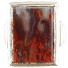 Morocco Crimson Seam Agate Statement Ring