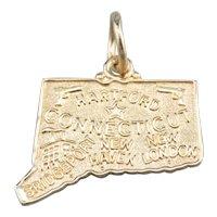 Connecticut State 14 Karat Gold Pendant