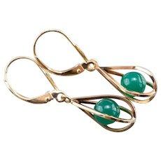 Caged Green Onyx Teardrop Earrings