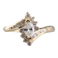 Marquise Diamond Halo Bypass Engagement Ring