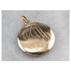 """Vintage 10 Karat Gold """"EJM"""" Monogrammed Locket"""