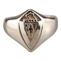 Commonwealth of Massachusetts Shield Ring, Vintage Rose 14 Karat Gold Signet Ring
