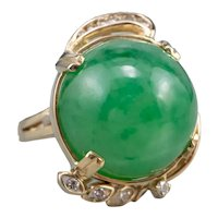 Jade Cabochon and Diamond Cocktail Ring