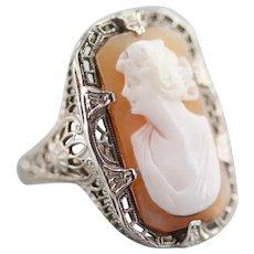Pretty Art Deco Cameo Cocktail Ring