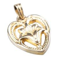 10K Floral Heart Pendant