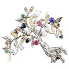 Vintage Multiple Gemstone Tree Pin