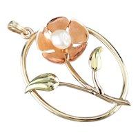 Retro Freshwater Pearl Flower Pendant
