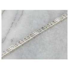 Art Deco Diamond Filigree Link Bracelet