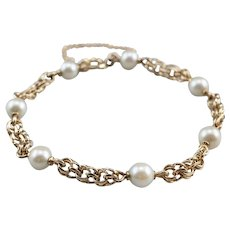 Vintage Cultured Pearl Chain Station Bracelet