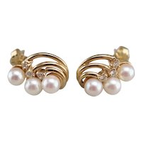 Sweeping Cultured Pearl Diamond Stud Earrings