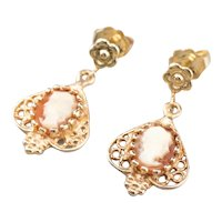 Yellow Gold Cameo Drop Earrings