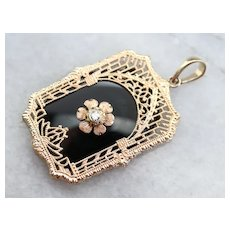 Vintage Black Onyx and Diamond Pendant