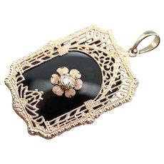 Vintage Black Onyx and Diamond Pendant