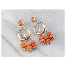 Rose 14 Karat Gold Beaded Coral Earrings