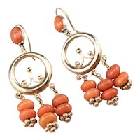 Rose 14 Karat Gold Beaded Coral Earrings