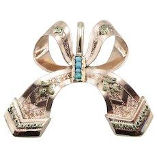 Upcycled Beautiful Turquoise Ribbon Pendant
