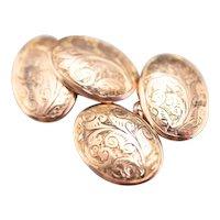 Engraved Antique 9 Carat Rose Gold Cufflinks