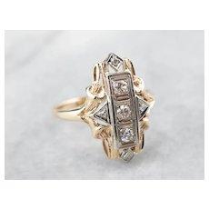 Retro Diamond Two Tone Dinner Ring