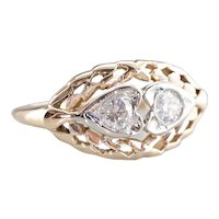 Vintage Double Diamond Heart Filigree Ring