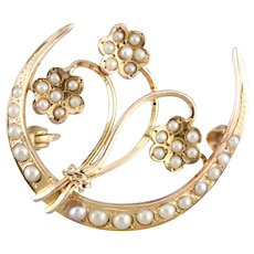 Art Nouveau Cultured Seed Pearl Honeymoon Brooch